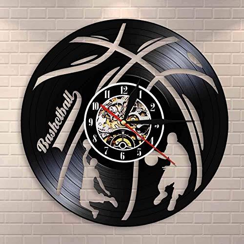 YDDLIE Reloj Art Deco de Pared Hecho a Mano de Baloncesto, Reloj de Pared con Registro de Vinilo para Jugador de Baloncesto, Regalo para fanáticos del Baloncesto