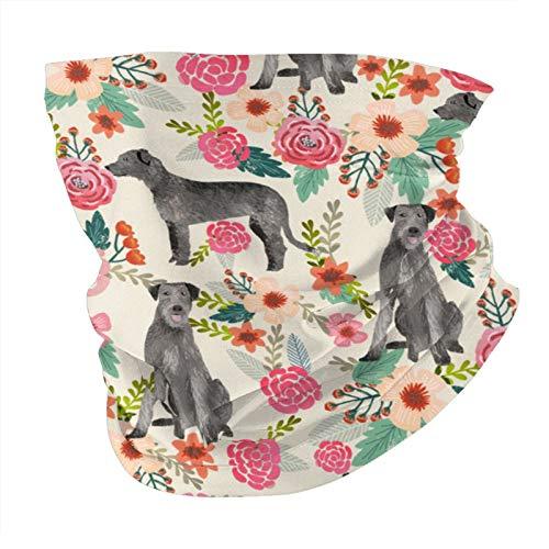 ZHANGPEIENfaqi Bufanda irlandesa Wolfhound floral para perro, con variedad de cabeza, máscara facial a la moda, a prueba de sol, pañuelo para la cabeza, toalla para hombres y mujeres