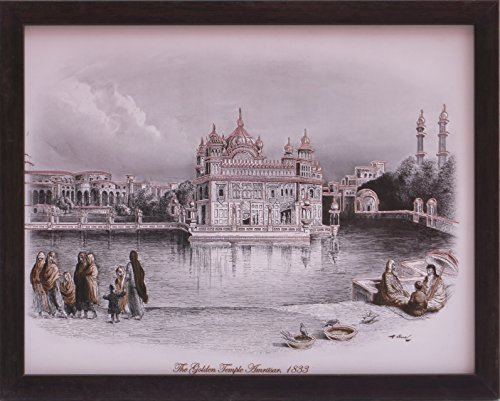 A Golden Temple Amritsar 1833, A Old and Memorable Picture with Frame, A Poster with Frame Must for Every Family, Office, Gift and Auspicious Purpose