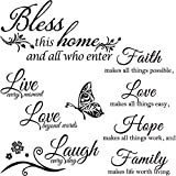 3 Sheets Vinyl Wall Quote Stickers Faith Hope Love Family Inspirational Wall Stickers Motivational Wall Decals Bible Verse Inspirational Sayings for Home School Wall Decorations (Classical Style)
