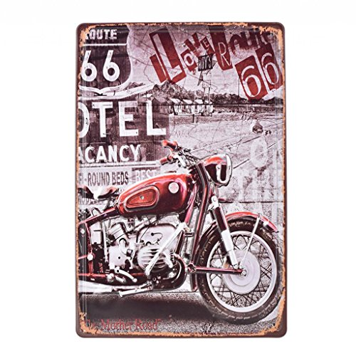 Homyl Plaque D'étain Vintage En Métal Fer-blanc Bar Decor Sign Wall Poster - ROUTE 66 avec Red Motorcycle