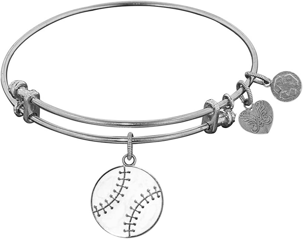 Angelica Collection Non-Antique Stipple Finish Brass with Enamel Baseball Expandable Bangle