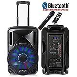 "Fenton Portable Music System DJ Speaker 12"" 700w Bluetooth Lights & Wireless Microphone"