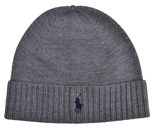 Ralph Lauren Strickmütze Fold Over Hat Merino Wolle One Size Grau