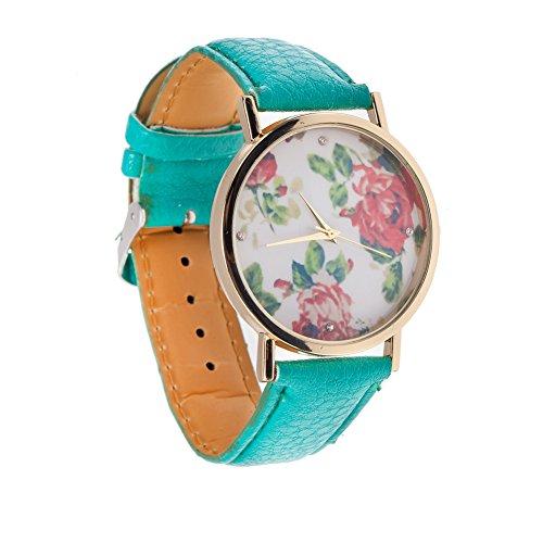 Estilo Vintage de calidad de cuarzo muñeca para mujeres turquesa sintética Band reloj infantil con mecanismo de, Golden caja y de rosas cinta elástica para la mano con estampado de flores de eliminar archivos del registro
