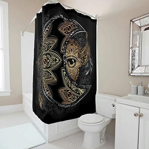 NC83 Douchegordijn met goudmaanoog thema bedrukt douchegordijn fris stof gordijnen met ringen - mandala voor woonhuis decoreren