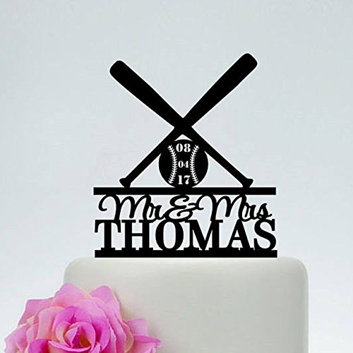Baseball Decorations Wedding Cake Topper Mr Mrs Name Date Personalized Wedding Party Favors Anniversary Gifts
