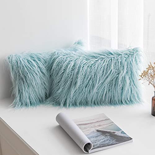 MIULEE Juego de 2 Funda de Almohada Cojines de Piel Decorativos Cuadrados y Suaves Cojines PeloPara la Decoración del Hogar Sofá Cama del12x20 Inch 30 x 50 cm Azul Claro