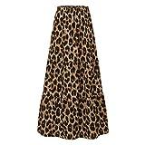 Moda Mujer Faldas largas con Estampado de Leopardo Verano Casual Cintura elástica Falda Fiesta Faldas Sueltas Femeninas Brown Leopard Print S