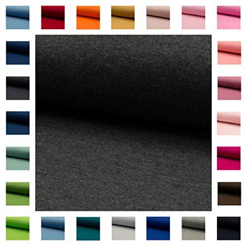 Bündchen Stoff NELE UNI in vielen Farben Oeko-Tex Standard 1 Schlauchware 35cm / 70cm aufgeschnitten Meterware ab 50cm hochwertiger Basic-Stoff zum Nähen (anthrazit meliert)