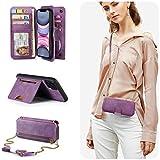 PAMANO iPhone 11 Wallet Case, Mirror 13 Card Holders Crossbody Wrist Strap Kickstand Detachable Purse Leather Folio Zipper Pocket Flip Protective Cover for Apple 11 6.1'' Purple