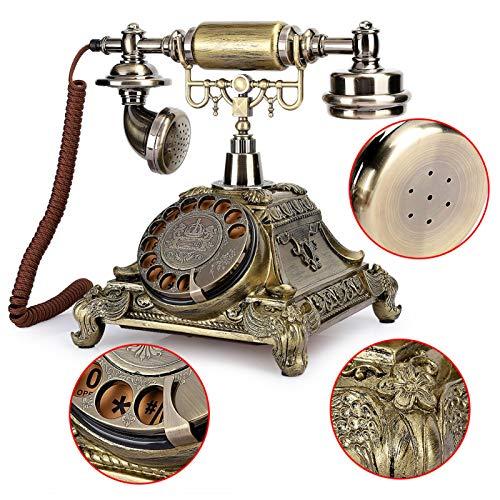 Longzhuo Teléfono Vintage, Esfera giratoria clásica de Resina epoxi, decoración de teléfono Europeo arcaístico Vintage para una Vida artística Elegante