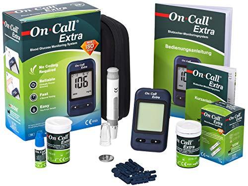 Swiss Point Of Care On Call Extra Starterpack | Messgerät, 10 Teststreifen, 10 Lanzetten, 1 Stechhilfe, Kontrolllösung | Maßeinheit am Gerät umschaltbar | ACHTUNG: Ablaufdatum Teststreifen 07/2020
