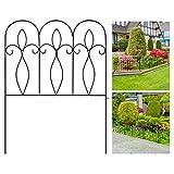 Valla de jardín decorativa de 81 cm x 61 cm x 5 unidades, de metal con revestimiento exterior, plegable, para jardín, borde de jardín, valla de alambre, valla plegable para paisajismo