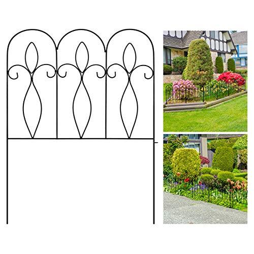 Dekorativer Gartenzaun 81CM X 61CM X 5 Stück Gartenzaun Metall Zaunelementen Gartenzäune Dekorative Zaun Gartenzaun Metall,Schwarz