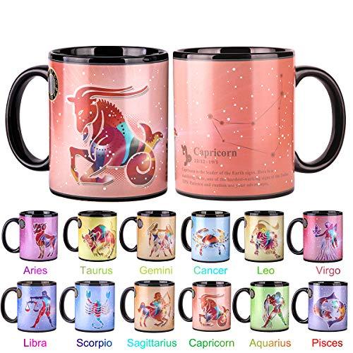 Heat Changing Constellation Mug 12 OZ Color Changing Mug with Gift Box for Women/Men-Capricorn