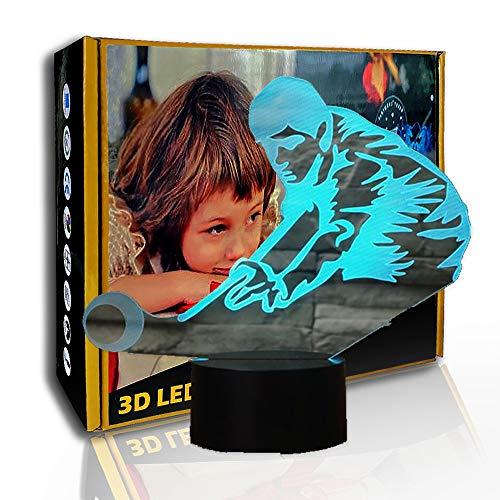 KangYD 3D Luz nocturna Jugar billar billar, lámpara de ilusión LED, G- Control de Telefonía Móvil, Regalo de fiesta, Lámpara de ilusión