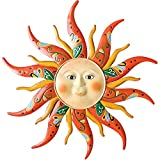 VOKPROOF Large Metal Sun Wall Art Decor - 17.3Inches Sun Face Garden Sculptures & Statues Wall Art for Indoor and Outdoor, Farmhouse, Patio, Garden Decoration