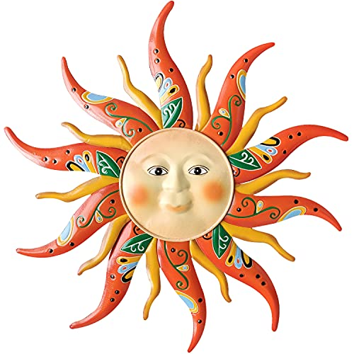 VOKPROOF Large Metal Sun Wall Art Decor - 17.1 Inches Sun Face Wall Garden Sculptures & Statues for Indoor and Outdoor, Farmhouse, Yard, Patio, Garden Decoration
