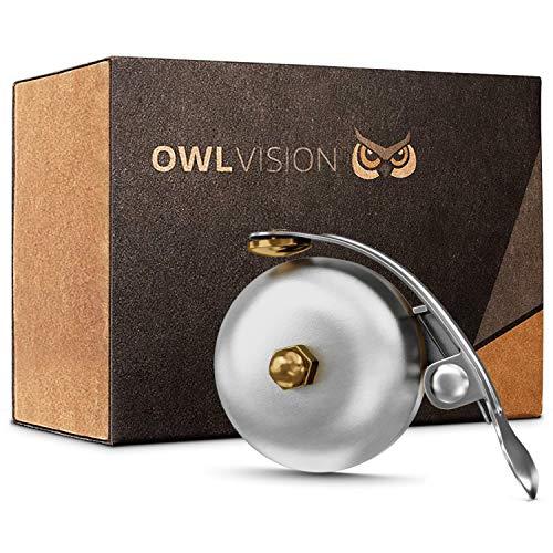 OWL VISION - Hochwertige Fahrradklingel Mini [universal passend] Fahrrad Klingel Retro sehr klarer Klang - Premium Fahrradglocke für MTB Stadtrad - Citybike & Fahrrad Zubehör - Klingel Glocke Ring