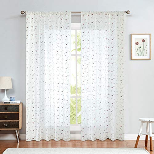 jinchan Sheer Curtains Floral Embroidered for Living Room Red Rose Buds Rod Pocket Retro Voile Drapes for Girls Room 1 Pair 84 inch