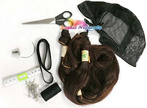Kit complet de fabrication de perruque : ruban élastique de sécurité pour perruque, tissage, mètre ruban, ciseaux, épingles, aiguille, fil à coudre, extension de cheveux (marron/noir)