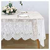 60x120 Inches White Lace Tablecloth Rectangle Vintage Embroidered Lace Table Cover for Wedding Party Home Outdoor Spring Table Decoration
