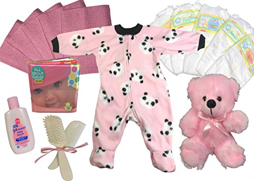 Baby Shower Gift Basket for a Girl - Panda 8 Piece Sleeper Newborn Gift Set