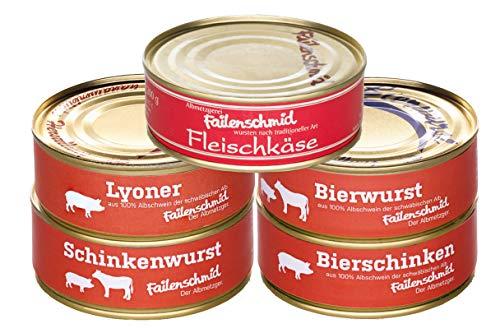 Failenschmid Dosenwurst Vorrats-Set Bierwurst, Bierschinken, Schinkenwurst, Lyoner, Fleischkäse