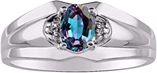 Classic Diamond and Simulated Alexandrite/Mystic Topaz Ring Set in Sterling Silver .925