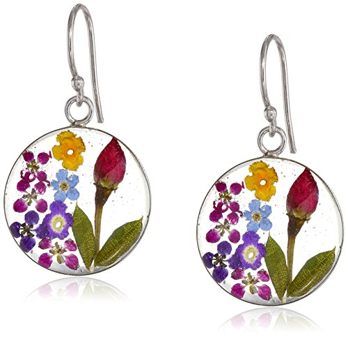 Sterling Silver Multi-Color Pressed Flower Circle Drop Earrings