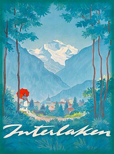 A SLICE IN TIME Interlaken Bern Switzerland Swiss Alps Europe European Vintage Travel Advertisement Art Poster Print. Poster Measures 10 x 13.5 inches.