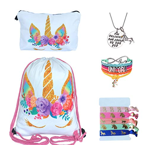 Unicorn Gifts for Girls - Unicorn Drawstring Backpack/Makeup Bag/Bracelet/Inspirational Necklace/Hair Ties (White Rose)