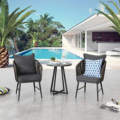Festival Depot 3 Pieces Patio Furniture Outdoor Bistro Set Iron Desktop Wood Grain Circle Coffee Side Table Slatted Steel Frame (Bistro Sets with Black Table)
