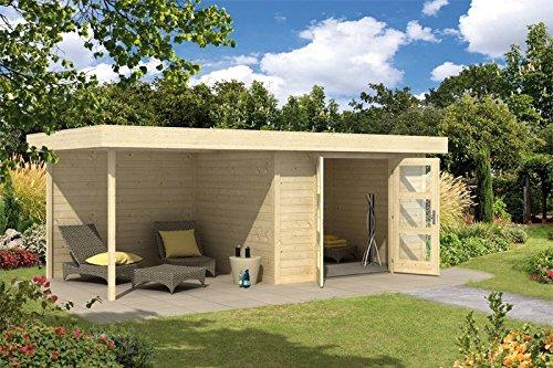 Wolff Finnhaus Gartenhaus Calais mit Anbau und Seitenwand