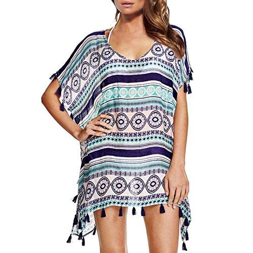 JBY Strandponcho Damen Sommerkleider Strandkleid große größen Poncho Bikini Cover Up Sommer Chiffon Strandhemd mit Pompon Quasten Lose Oberteile Beachwear Minikleider Boho Bademode , blau - one size