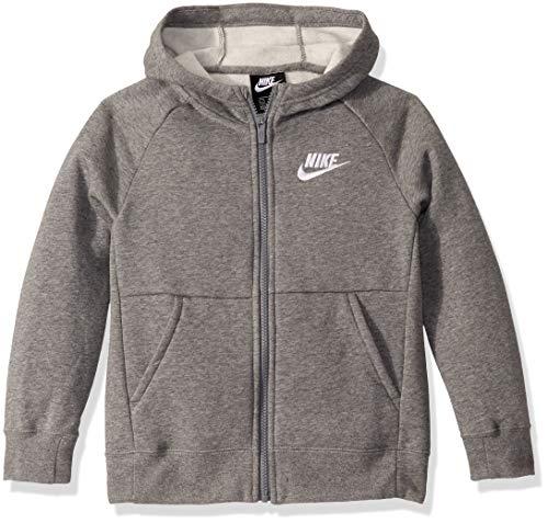 NIKE Sportswear Full Zip Hoodie G Sudadera con Capucha, Niñas, Gris (Carbon Heather/White), L (146-156 CM)