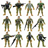 Army Men Action Figures with Military Digital Camo - US Special Forces Group Toy Soldiers Playset for Kids Boys,12 Pcs,Best Age 6 7 8 9 10