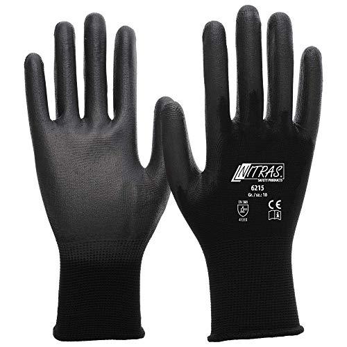12 Paar Montagehandschuh Nylon NITRAS 6215 Schwarz PU beschichtete Handschuhe Gr. L (9)