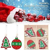 木製クリスマスOrnamnet、12個入りクリスマスツリー木製ペンダントぶら下げギフトOrnamnet、素朴なクリスマス装飾クリスマスカウントダウンアドベントカレンダー家の装飾のためのツリー装飾品をぶら下げ