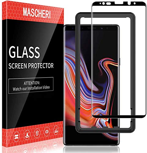 MASCHERI Schutzfolie für Samsung Galaxy Note 9 Panzerglas Panzerglasfolie, [3D Abgerundete] [Vollständige Abdeckung] [Ausrichtungsrahmen Einfache Installation] Gehärtetem Glas Displayschutzfolie
