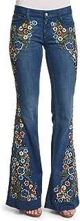 Pantalones Mujer Vaqueros,Pantalones De Mezclilla Acampanados Destruidos con Bordado De Mujer Pantalones Acampanados con B...