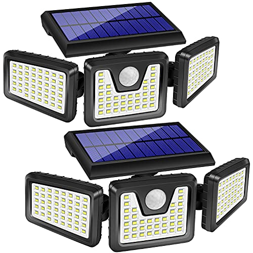 2 lámparas solares para exteriores, 128 LED, 800 lm, inalámbricas, con sensor de movimiento; 3 cabezales ajustables, 270 ° de iluminación gran angular, IP65 impermeable, luz LED de seguridad