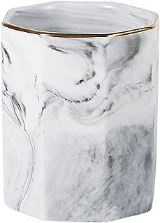 YOSCO Ceramic Desk Pen Holder Stand Marble Pattern Pencil Cup Pot Desk Organizer Makeup Brush Holder (Gray A)