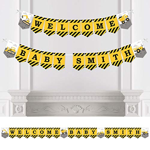 Big Dot of Happiness Personalized Dig It - Construction Party Zone - Custom Baby Shower Bunting Banner and Decorations - Welcome Baby Custom Name Banner