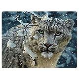 HommomH Snow Leopard Blanket Animal Pattern Digital Print Fleece Throw Falling Snow 60'x80'
