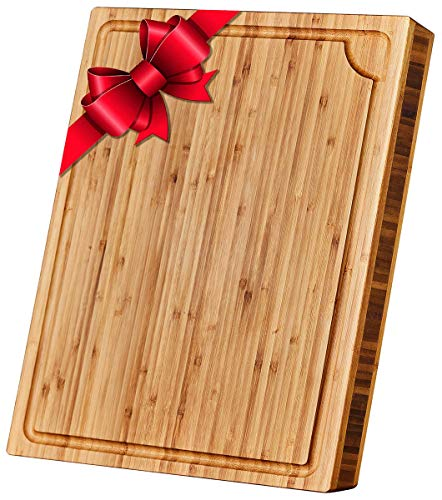 Large Bamboo Cutting Board with Juice Groove - Cutting Boards for Kitchen - 18 x 14 x 1.3 inch - Organic Wood Butcher Block with Slanted Sides for Easy Grab - Chopping Board for Meat and Vegetables
