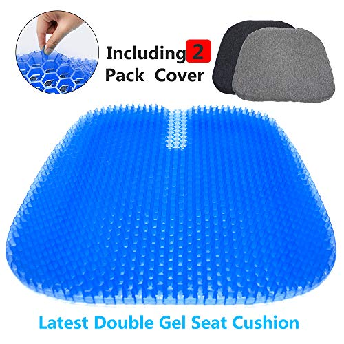 Gel Seat Cushion,Double Thick Seat Cushion with 2 Pack Non-Slip Cover, Multi-Use Seat Cushion Super Breathable Gel Cushion for Car, Office Chair, Wheelchair or Home (18 x 16.9 Inches)
