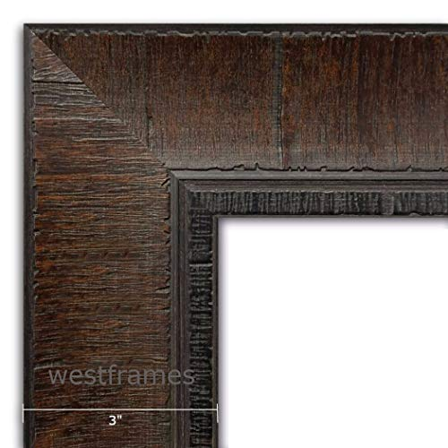 West Frames The Lodge Rustic Distressed Wall Picture Frame 3' Wide (Dark Walnut Brown, 30' x 40' Frame with Plexiglass & Backing Board)