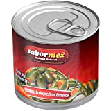 SABORMEX Chile Jalapeño Entero, Producto Natural Sin Conservantes ni Colorantes, Vegano, Bote de 380 gr